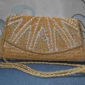 Champagne Beaded/Sequined Evening Bag